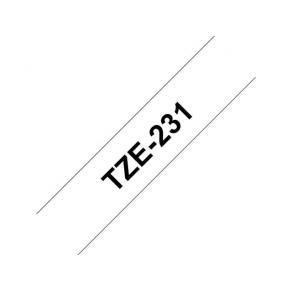 Märkband Brother TZe231, svart/vit, 12mm