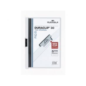 Klämmapp DURABLE Duraclip A4 Vit, 30 blad