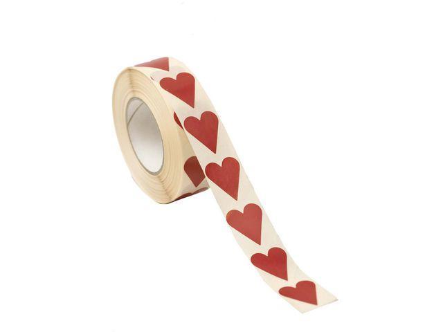 Klistermärke Hjärta Röd, 22x25mm, 1000/rl
