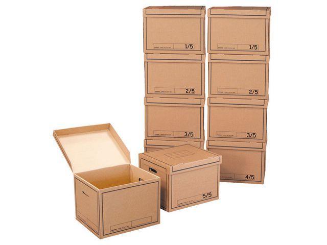 Arkivbox med lock 390x330x290mm, Brun, 10st