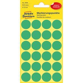 Färgkodningsprick AVERY Ø18mm grön 96/F
