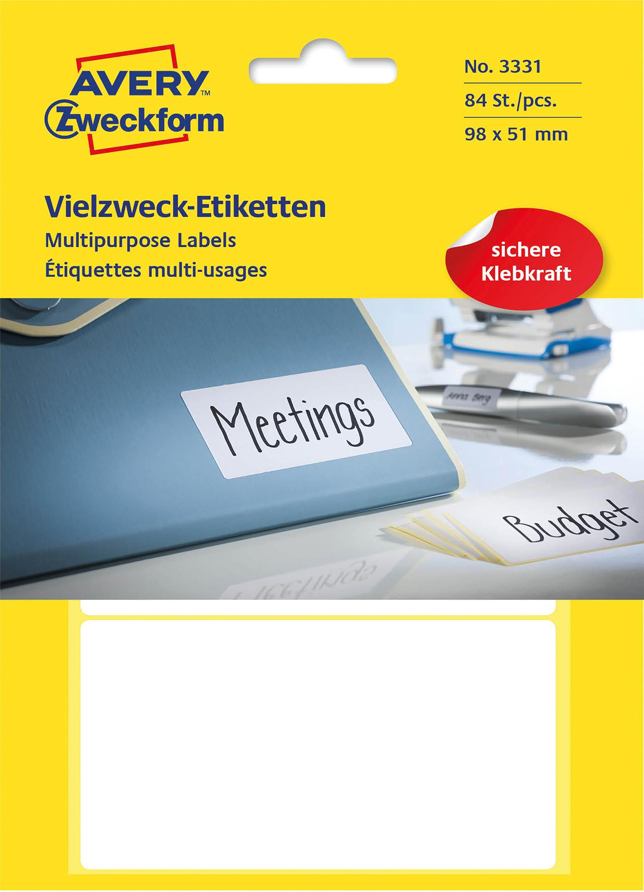 Etikett AVERY handskrift 98x51 vit 84/F
