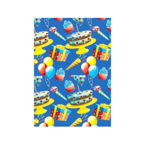 Presentpapper 57cmx154m Happy Birthday (rulle om 154 m)