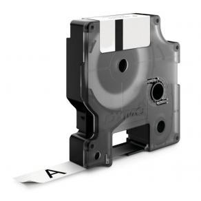 Märkband Dymo D1, plast, svart/vit, 12mm