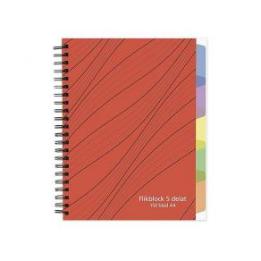 Anteckningsbok A4 70g 150 blad med 5 avdelare, spiral