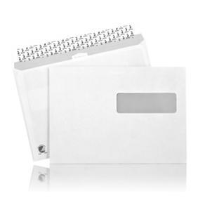 Kuvert C5 H2-Fönster Självhäftande Remsa, vit, 500/fp