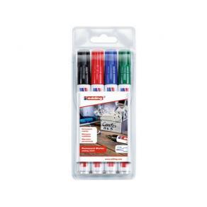 Märkpenna Edding 330, permanent, sned, 4 färger/fp
