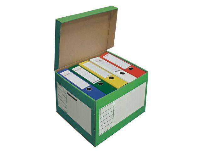 Arkivbox med lock 390x330x290mm, Grön, 10st