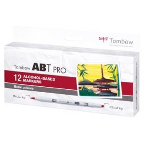 Tombow alkohol märkpenna ABT PRO Dual Brush 12P-1 basic (12)