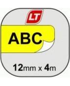 Märkband Dymo LetraTag, plast, svart/gul, 12mm