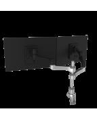 R-Go Zepher 4 Twin Monitor Arm, adjustable, silver