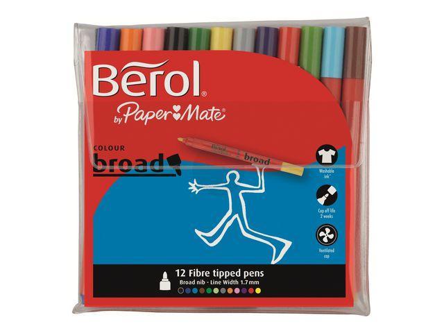 Fiberpenna BEROL Colourbroad, 12 färger/etui