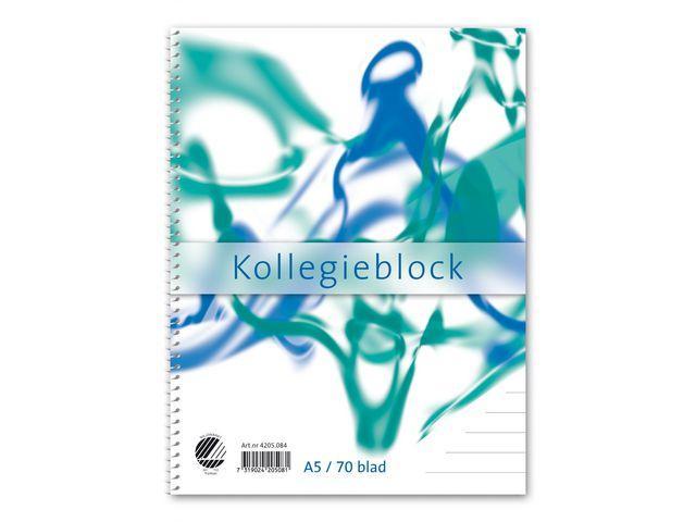Kollegieblock A5, linjerat, 70g 5st