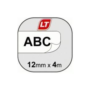Märkband Dymo LetraTag, plast, svart/vit, 12mm