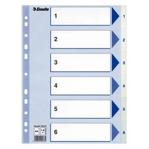 Register Non-Stop A4/1-6 rubrikblad vit