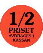 "Etikett ""Halva Priset"" 2000/rl"