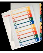 Pärmregister Plast ESSELTE Projektindex A4+ 1-10