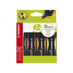Överstrykningspenna STABILO Green, 4-pack
