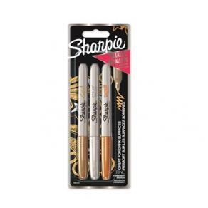 Sharpie Metallic 1,4 mm 3-pack  guld, silver, bronze