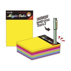 Notiskub Stick´n, 7 neonfärger, 76x76mm, 280bl