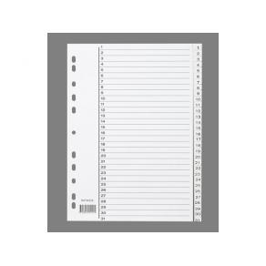 Pärmregister Plast A4 1-31 Vit