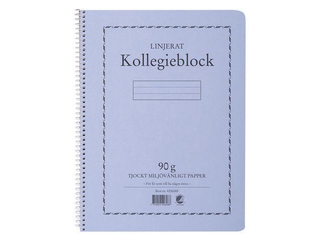 Kollegieblock A4, linjerat, 90g, 5st 5st