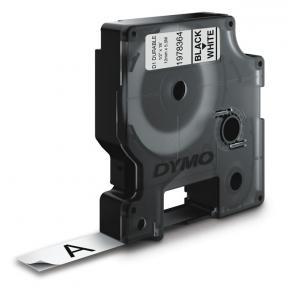 Märkband Dymo D1 Durable, svart/vit, 12mm