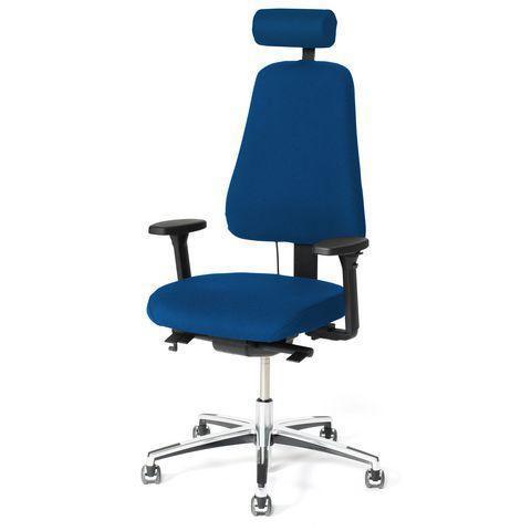 Kontorsstol LANAB LD6340 Multisynkron, blå textil, kromat stativ