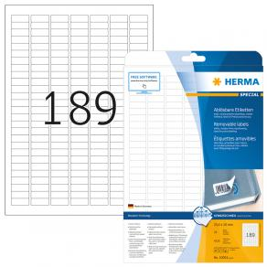 Etiketter HERMA Avtagbara, 25,4x10mm, 189 per sida, 4725/fp