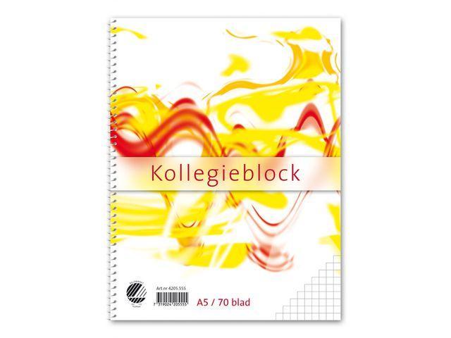 Kollegieblock A5, rutat, 70g, 5st 5st