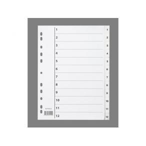 Pärmregister Plast A4 1-12 Vit
