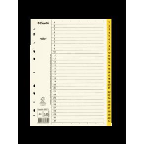 Pärmregister ESSELTE A4 1-31 Gul, flikförstärkt