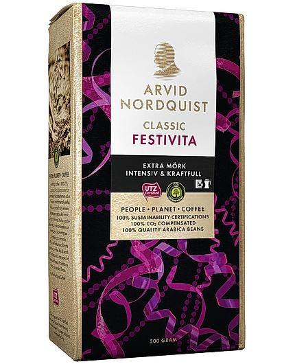 Kaffe Arvid Nordquist Classic Festivita Extra Mörkrost, 500g
