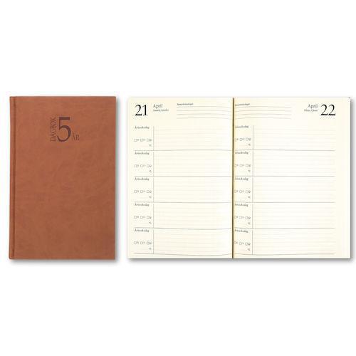 0a9abd7e32a 5-Årsdagbok Konstläder Cognac, en dag/sida, 142x205mm, endast 146 kr
