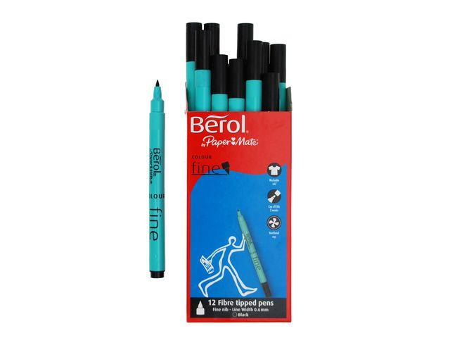 Fiberpenna Berol Colourfine Svart, 0,6mm, 12/fp