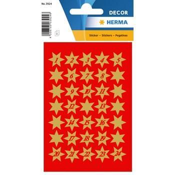 Herma stickers Decor julstjärnor 1-24 (3) 10st