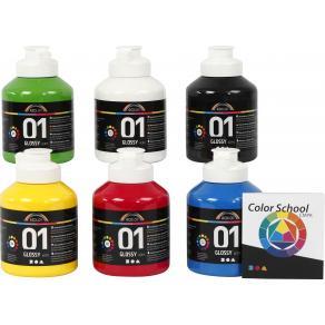 Akrylfärg blank 500ml mix 6/fp