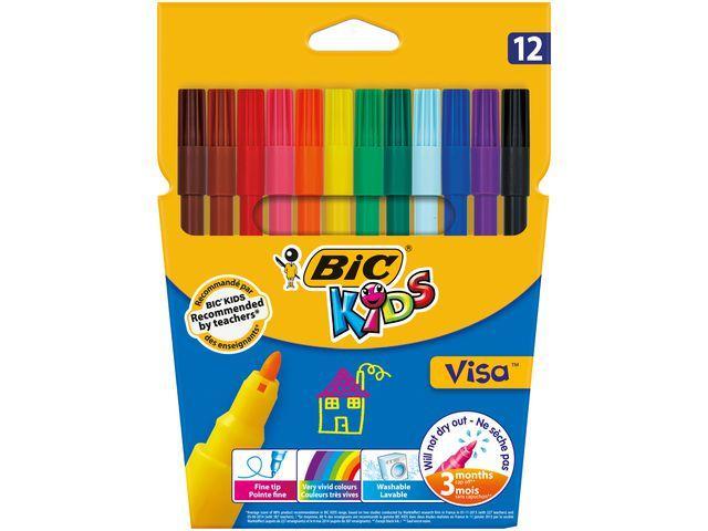 Fiberpenna BIC Kids Visa, 12/fp