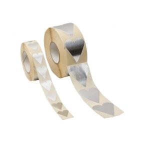Klistermärke Hjärta Silver, 26x42mm, 1000/rl