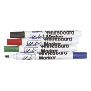Whiteboardpenna MARVY Svart, sned, 12st