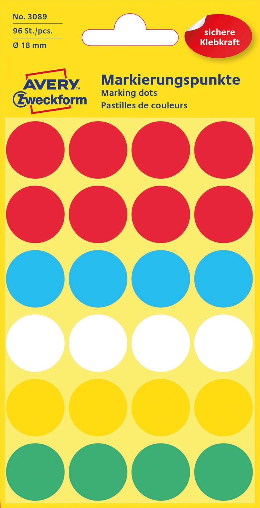 Färgkodningsprick Ø18mm färgmix 96/FP
