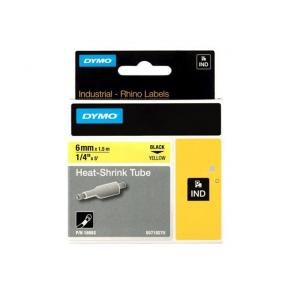 Märkband Dymo Rhino Krympslang, svart/gul, 6mm, 5/fp