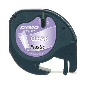 Märkband Dymo LetraTag, plast, svart/transparent, 12mm