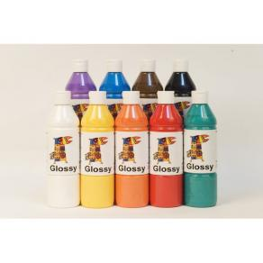 Glansfärg Glossy,  500ml x 9 färger