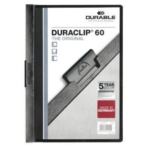 Klämmapp DURABLE Duraclip A4 Svart, 60 blad, 25st