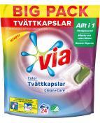 Tvättkapslar VIA Color Clean+Care 24/FP