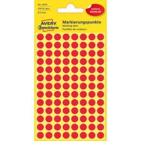 Färgkodningsprick AVERY Ø8mm röd 416/FP